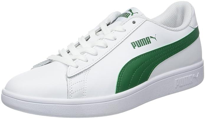 Puma Smash V2 L Sneakers Erwachsene Damen Herren Unisex Weiß mit grünen Streifen