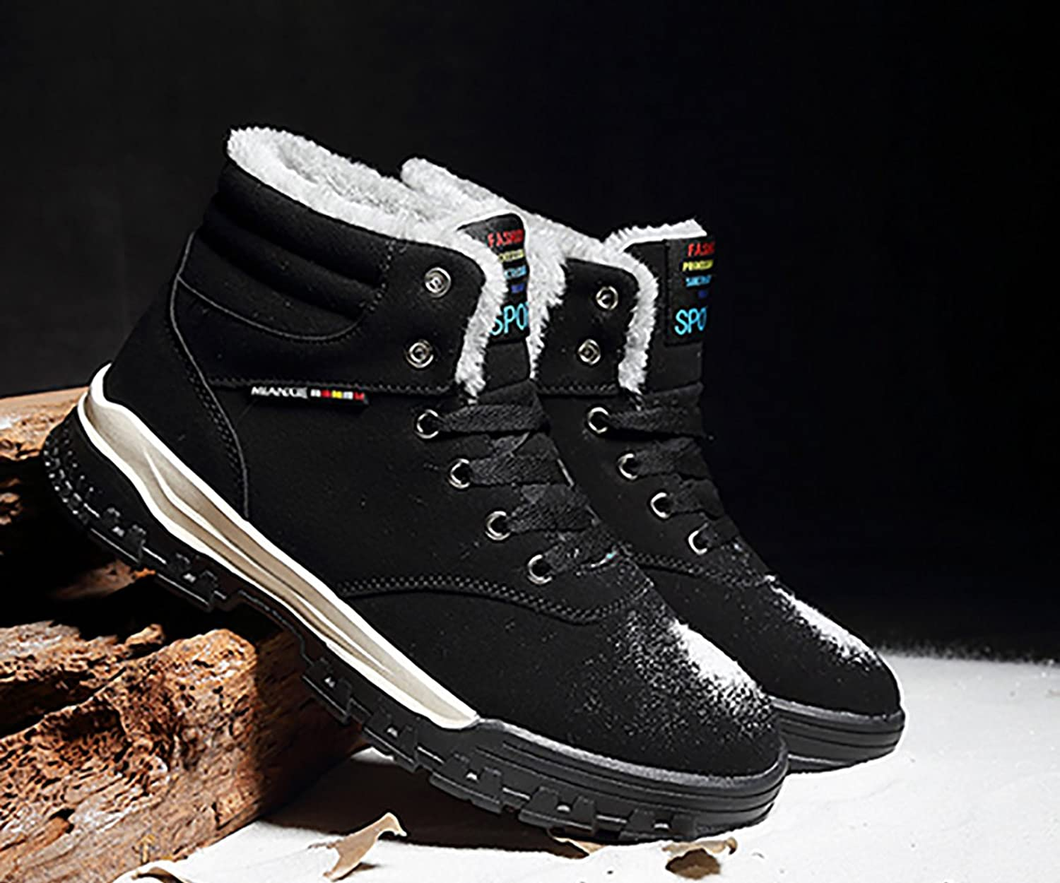 Snow Warm Men Shoes Winter Fur Lining Boots Outdoor Ankle High Top Sneakers  Lace Up Black 45/11 US Men: Amazon.ca: Shoes & Handbags