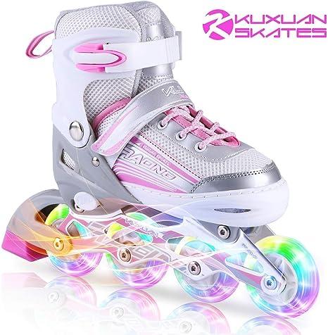 Hikole Pattini in Linea per Bambini Ragazze e Ragazzi Pattini Inline Skates Regolabile Taglia 30-41 Ruote Illuminate per Adulti Donna e Uomo