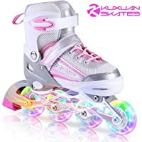 Kuxuan Saya Rollerblades Adjustable for Kids,Girls Inline Skates with All Wheels Light up,Fun Illuminating for Youth and Ladies