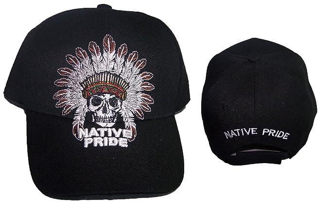 83be608d912 Chief   Skull Native Pride Embroidered Baseball Caps Hats - Black Color  (CapNp658 Z)