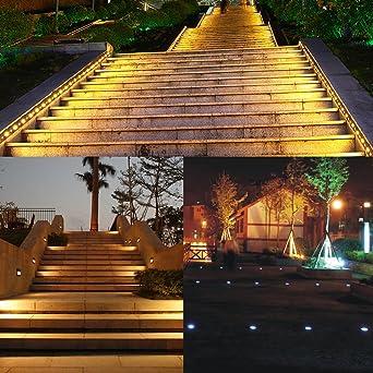 Docooler Lámparas Encastrables de Exterior Impermeables IP67 Para Jardín Patio o Escaleras, Conector EU 32 mm Blanco Cálido: Amazon.es: Iluminación