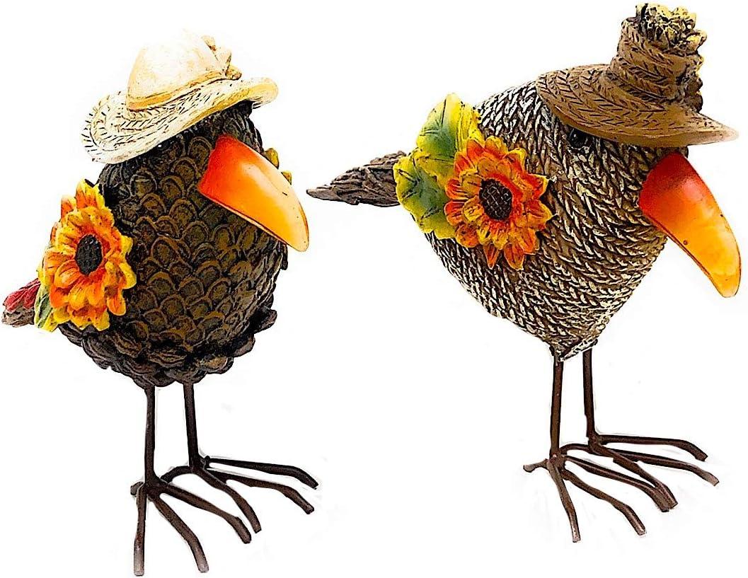 "S/2 Crow Figurines Fall Harvest Thanksgiving Decor Tabletop Shelf Mantel (6"" x 5"")"