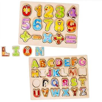 Lewo Puzzles De Madera Numero Del Alfabeto Juegos De Mesa
