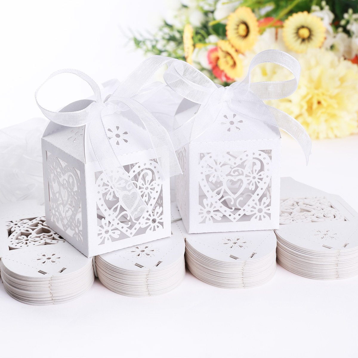 50pcs Laser Cut Wedding Hollow Love Heart Wedding Favor Candy Gifts ...