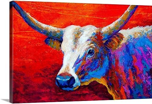 Sunset Ablaze Longhorn Canvas Wall Art Print