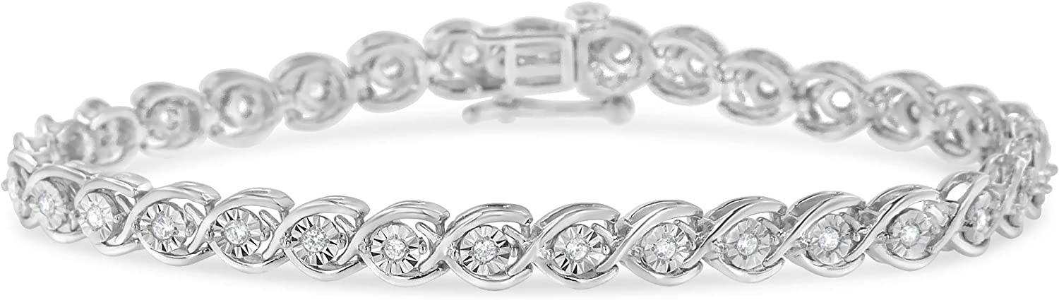 Sterling Silver Diamond Link Bracelet (0.5 cttw, I-J Color, I2-I3 Clarity)
