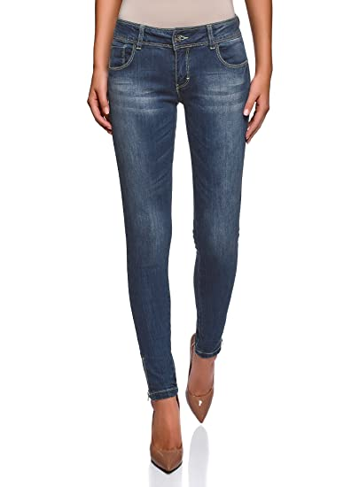 oodji Ultra Femme Jean Skinny avec Zips sur les Jambes  Amazon.fr ... d59a43cc63ec