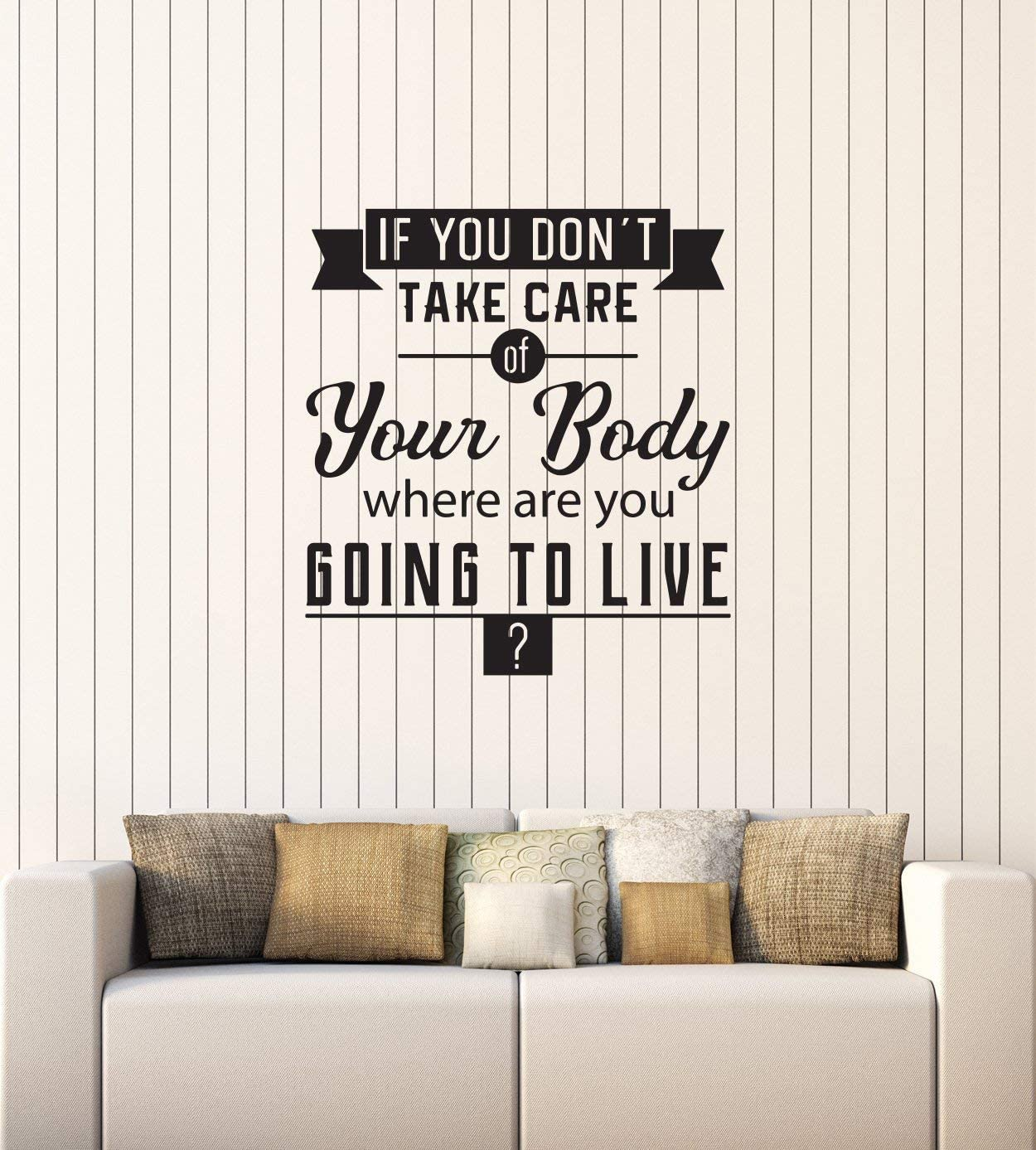 Amazon Com Vinyl Wall Decal Healthy Quote Spa Salon Gym Medical Office Interior Stickers Mural Large Decor Ig5742 Black Home Kitchen