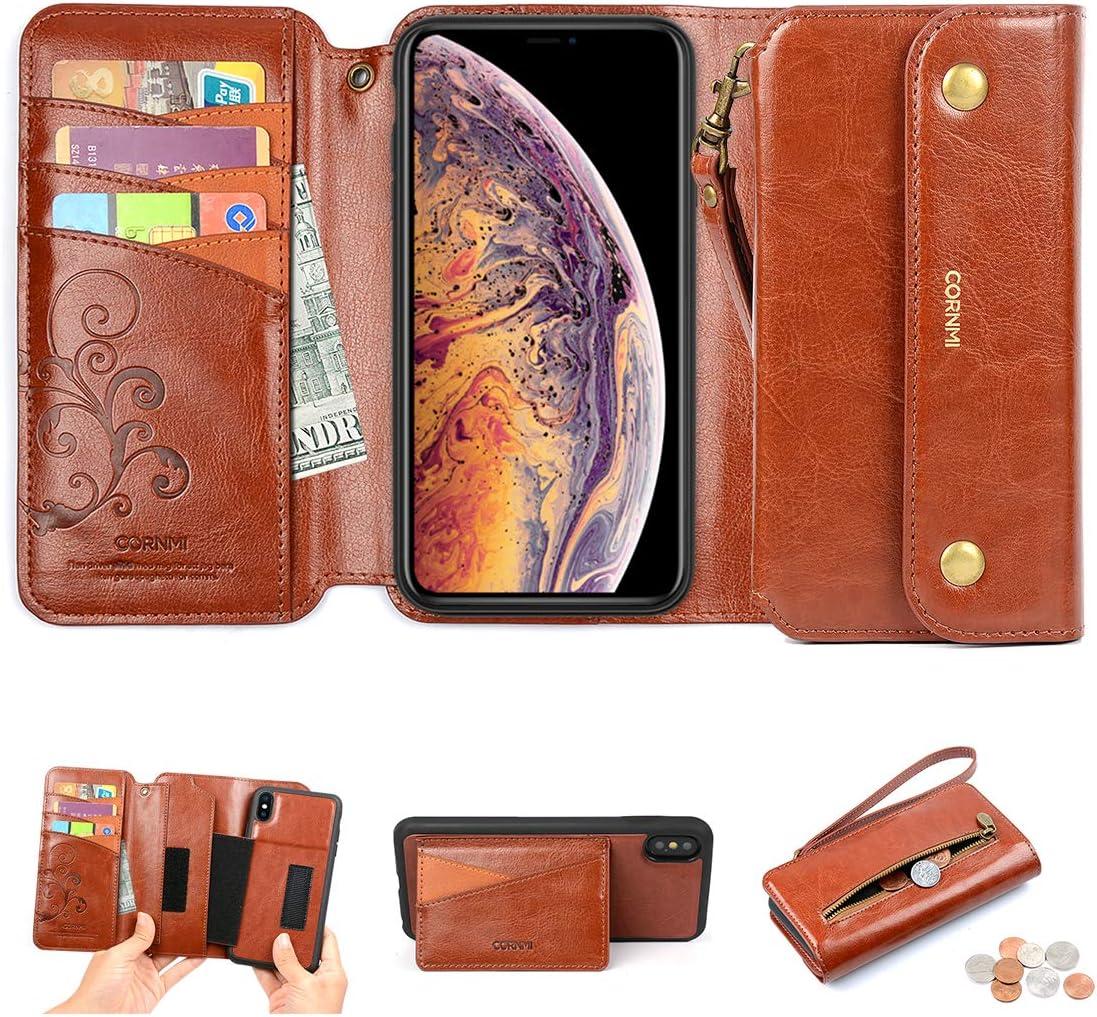 CORNMI iPhone Xs Max Wallet Case, Zipper Pocket 8Card Holders Wrist Strap Kickstand Detachable Purse Leather Folio Flip Protective Cover for Apple XS Max Brown