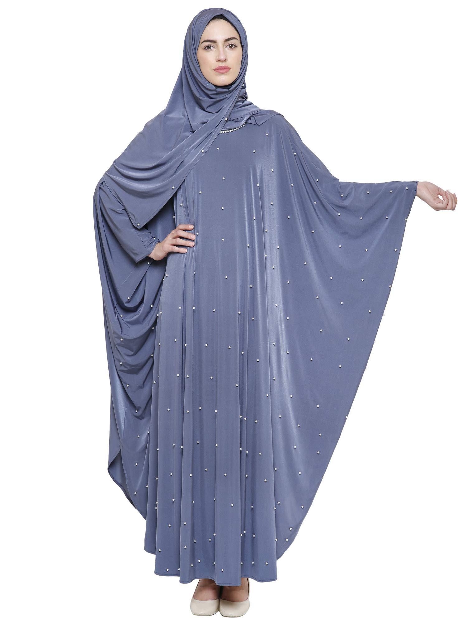 ZUZUU Women's Crystal Lycra Butterfly Style Chadri Abaya Stone Work Burqa with Hijab, Dupatta and Mouthpeice (BQ_073, Bluish Grey, Free Size)