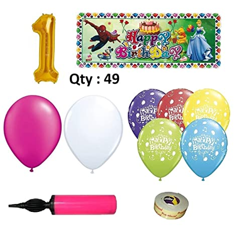 EASY PARTY STORE Girls Birthday Decoration Theme Combo With 49 Items Pink White