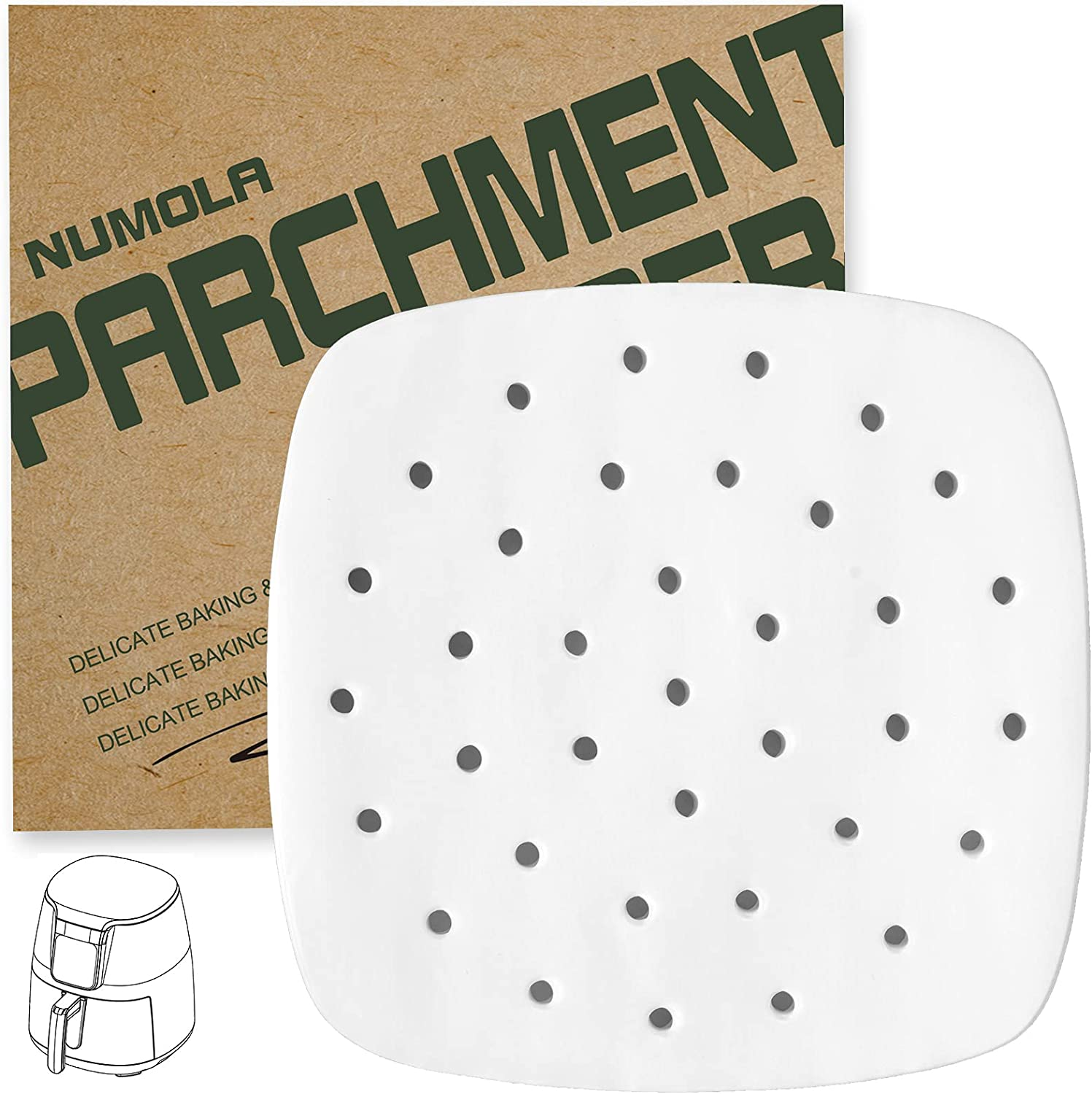 Numola Air Fryer Liners - 100 pcs Perforated Parchment Paper, Square Bamboo Steamer Paper Compatible with Philips, Cozyna, Secura, NuWave, Chefman, GoWISE USA, BLACK+DECKER, COSORI (9IN, White)