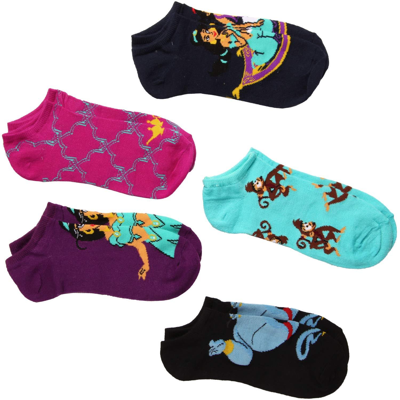 Disney Womens Princess 5 Pack No Show Socks