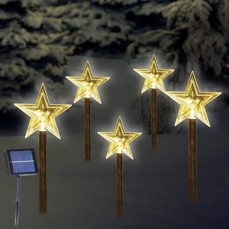 Solar Christmas Stake Lights, Decorative Solar Garden Lights Outdoor, Energy Saving Waterproof Solar Pathway Lights Christmas Decorations for Walkway, Yard, Lawn, Patio (Big Stars)
