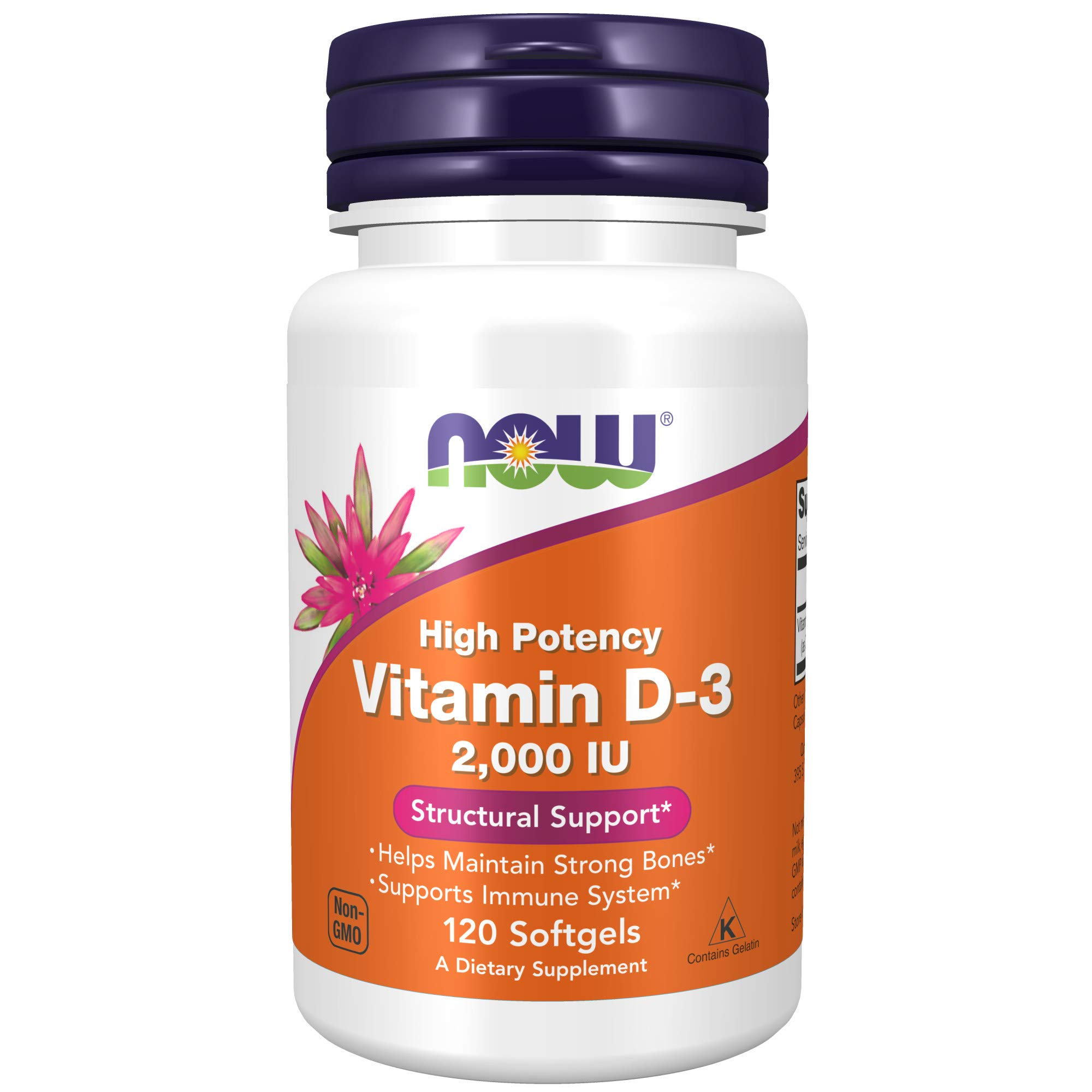 Now Foods Supplements Vitamin D3 2000 IU High Potency Structural Support Softgels, 120 Count
