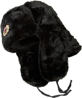 Men/'s Ladies Warm Winter Hat EarFlaps Russian Ushanka Soviet soldier Badge White