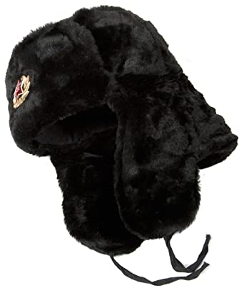 Hat Russian Soviet Army Black KGB Fur Military Cossack Ushanka Size ... acc86c68e2e