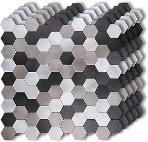 "HomeyMosaic Peel and Stick Tile Backsplash Stick on Kitchen Wall Decor Aluminum Surface Metal Smart Tiles,Silver&Black&Grey Hexagon(12""x12""x 5 Sheets)"