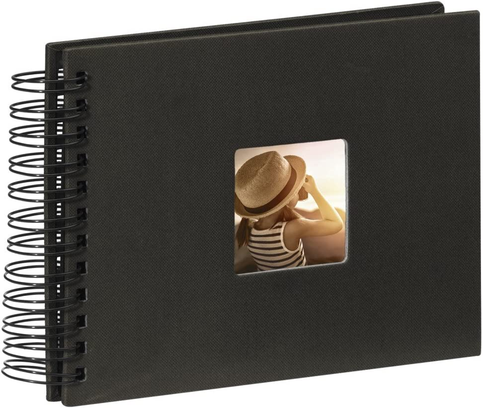 Hama Fine Art - Álbum de fotos, 50 páginas negras (25 hojas), álbum con espiral, 24 x 17 cm, con compartimento para insertar foto, negro