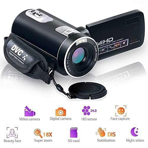Camcorder Video Camera Night Vision Pause Function Digital Camera Full HD 1080P 24.0MP Vlogging Camera with Remote Controller
