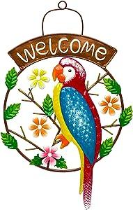 Indefree Metal Parrot Welcome Sign Wall Decor, Colorful Bird Art Wall Hanging for Indoor Outdoor Home Bedroom Office Garden 14.56