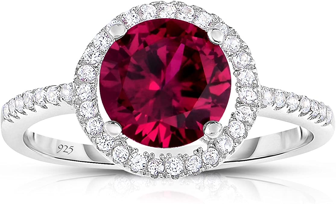 Princess Diana Created Red Ruby Ring 925 Sterling Silver Rings for Women