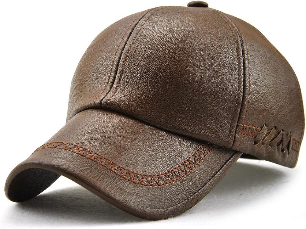 Ueither Herren PU Leder Baseballm/ütze Schirmm/ütze Kappe Herbst und Winter Baseballkappe Hut