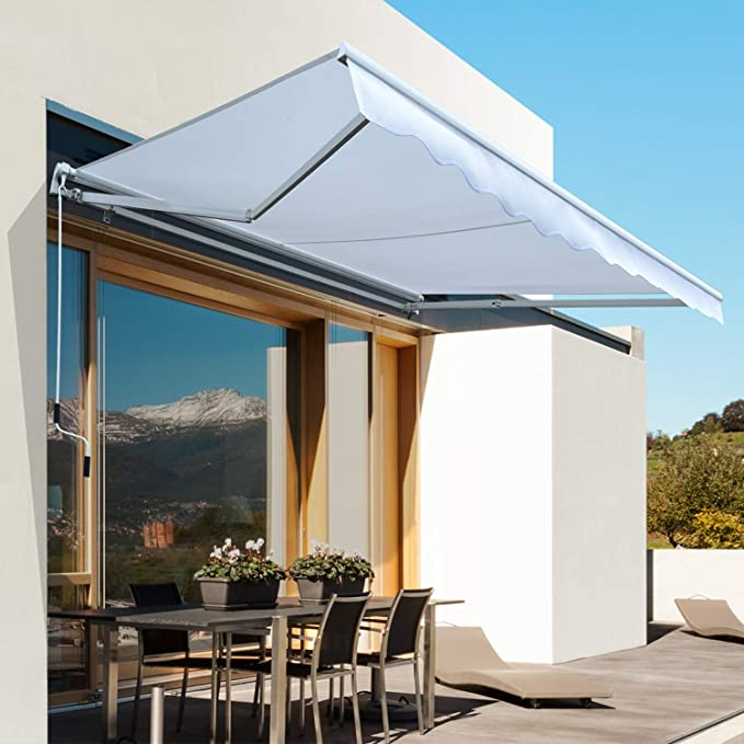Outsunny Toldo Manual Plegable de Aluminio Ángulo Ajustable con Manivela para Exterior Balcón Jardín Terraza 3x2, 5m Blanco: Amazon.es: Jardín