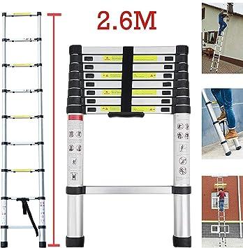 bxzcb Estante-Escalera-Soporte Escalera telescópica 2.6M Escalera de aluminio Escalera extensible para el hogar Escalera telescópica Escalera plegable de aluminio Escalera retráctil Escalera multiuso: Amazon.es: Bricolaje y herramientas