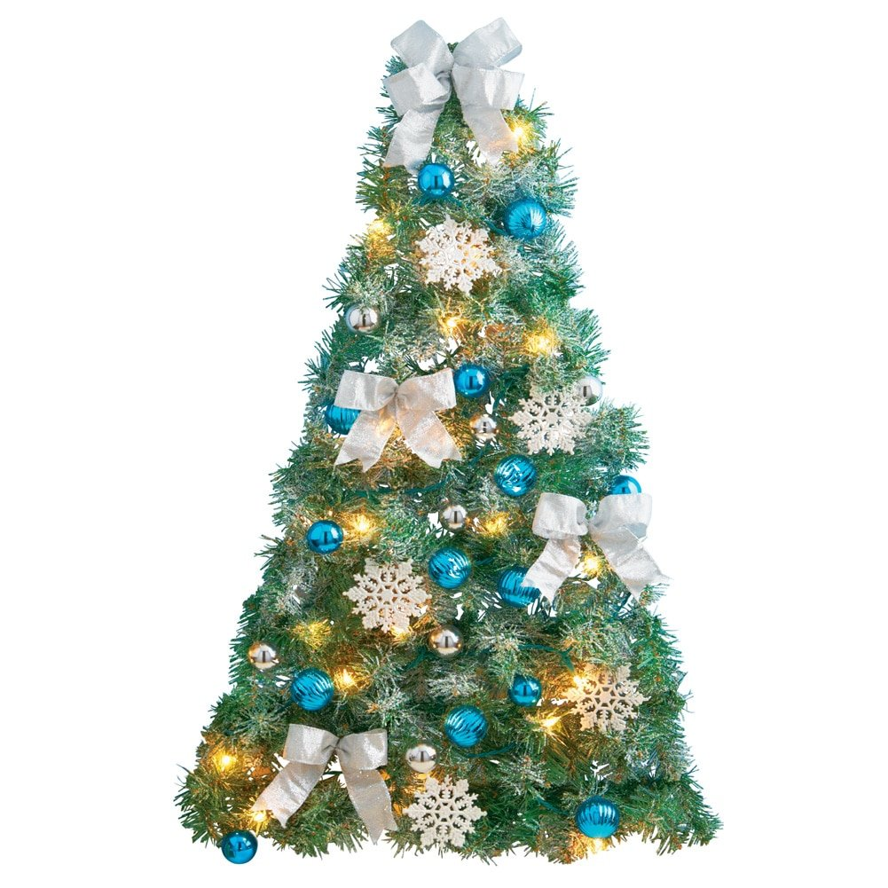 Frosted Blue and Silver Christmas Wall Tree