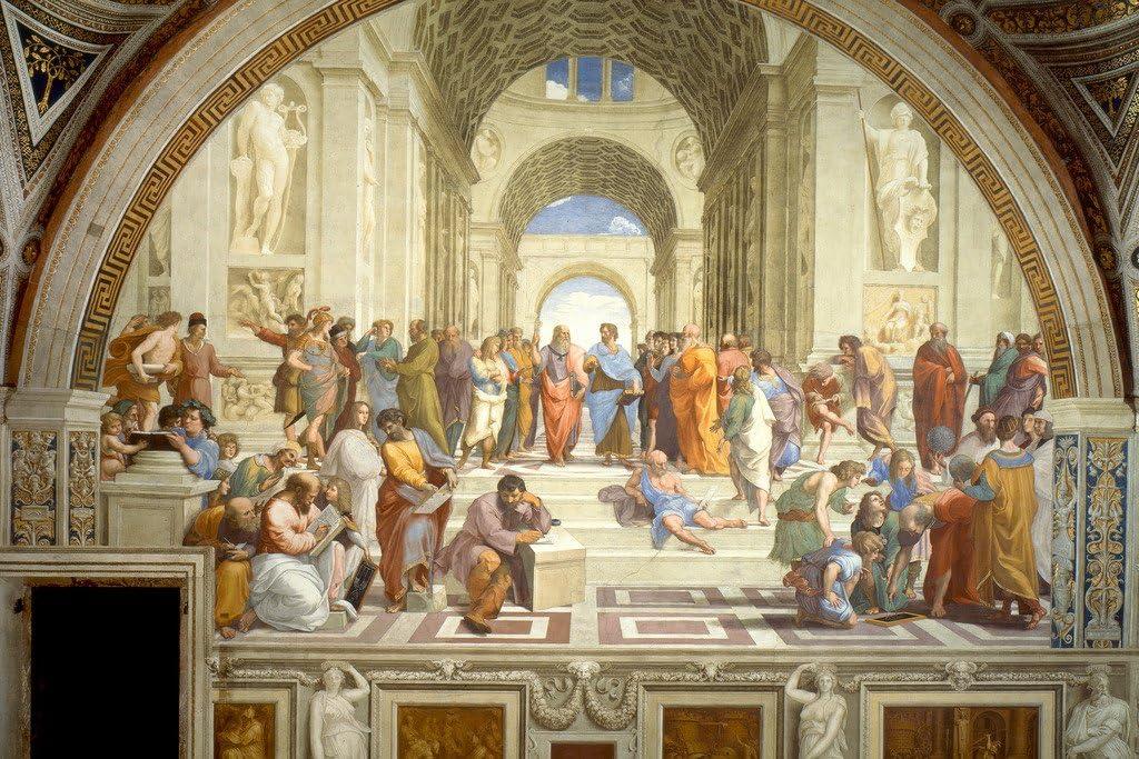 Raphael School of Athens Renaissance Painting Classical Philosopher Socrates Aristotle Greek Philosophy Painter Cool Wall Decor Art Print Poster 18x12