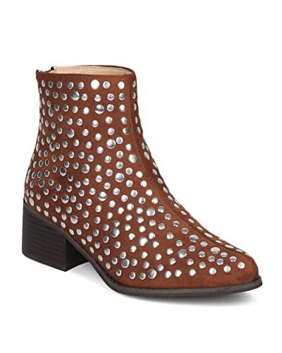 Women Studded Pointy Toe Low Block Heel Bootie - Versatile Androgynous Fashion Ankle Boot - HE93 by Mackin J Collection