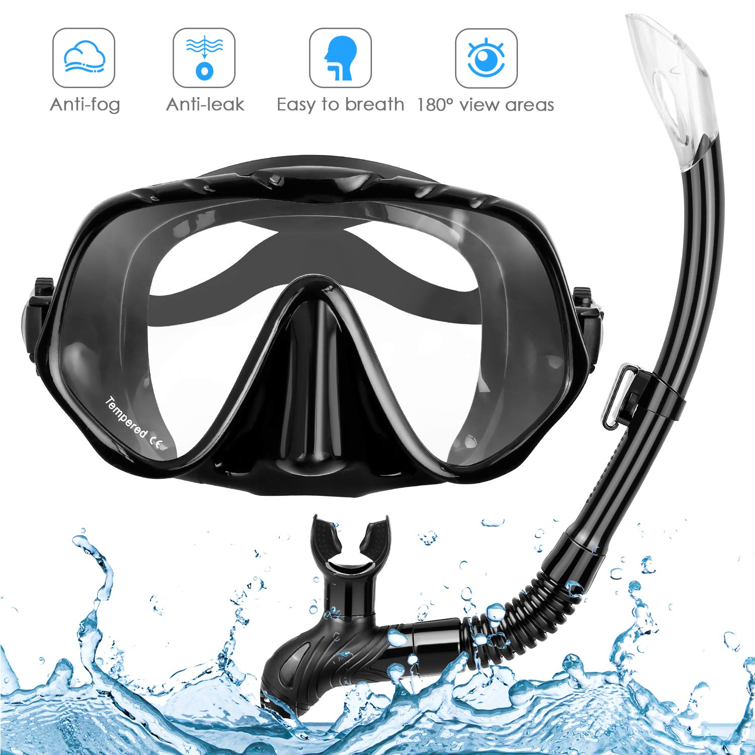 Amzdeal Snorkel Mask, Snorkeling Diving Mask Set with 180° Clear Vision and Free Breathing Tempered Glass Anti-Leak Guard with Adjustable Straps Professional Snorkeling Set by Amzdeal