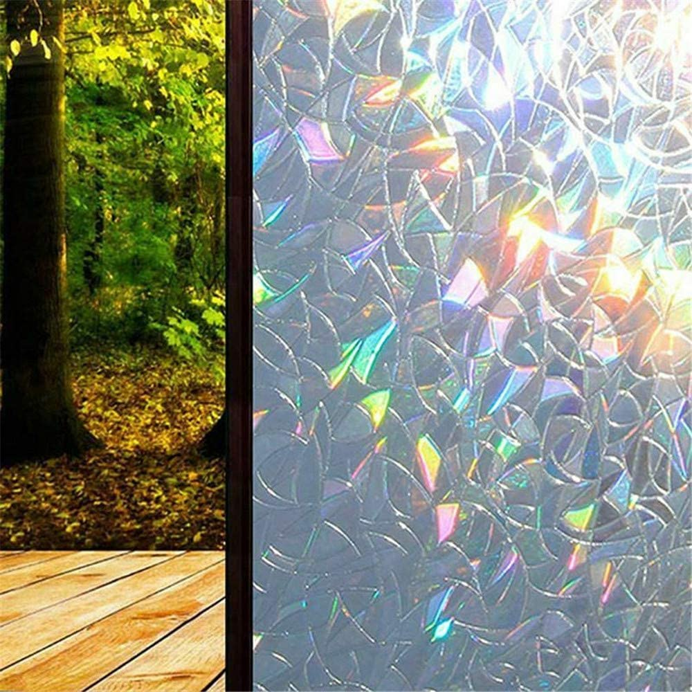 3D Window Glass Film Rainbow Sticker Stained Anti UV Self-adhesive 45*100cm