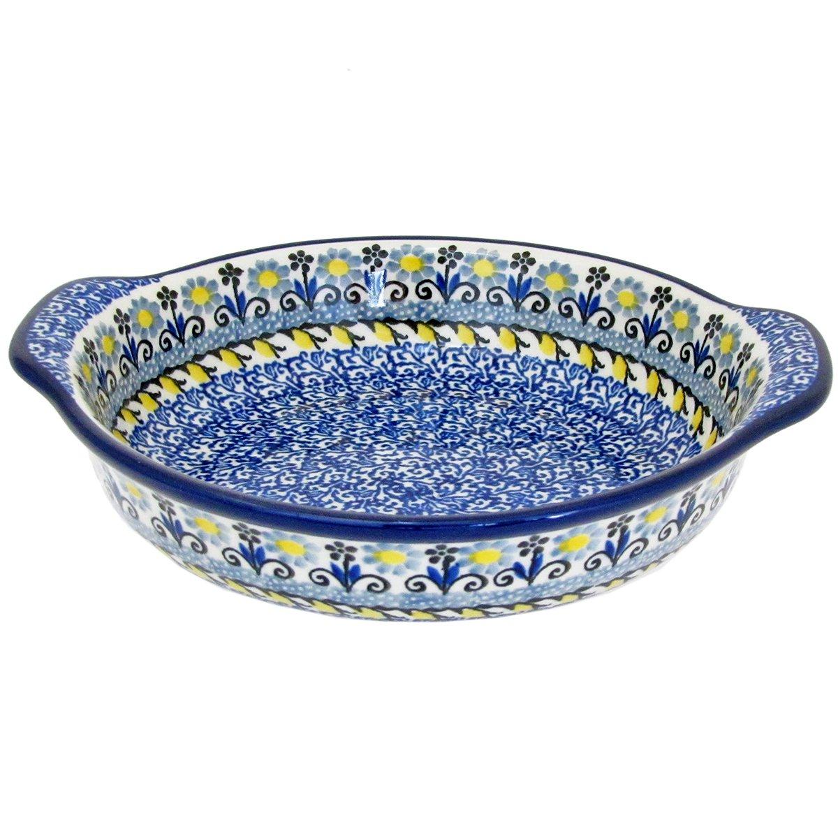 Polish Pottery 6.5'' Handmade Round Au Gratin For One 142- Lemon Drops
