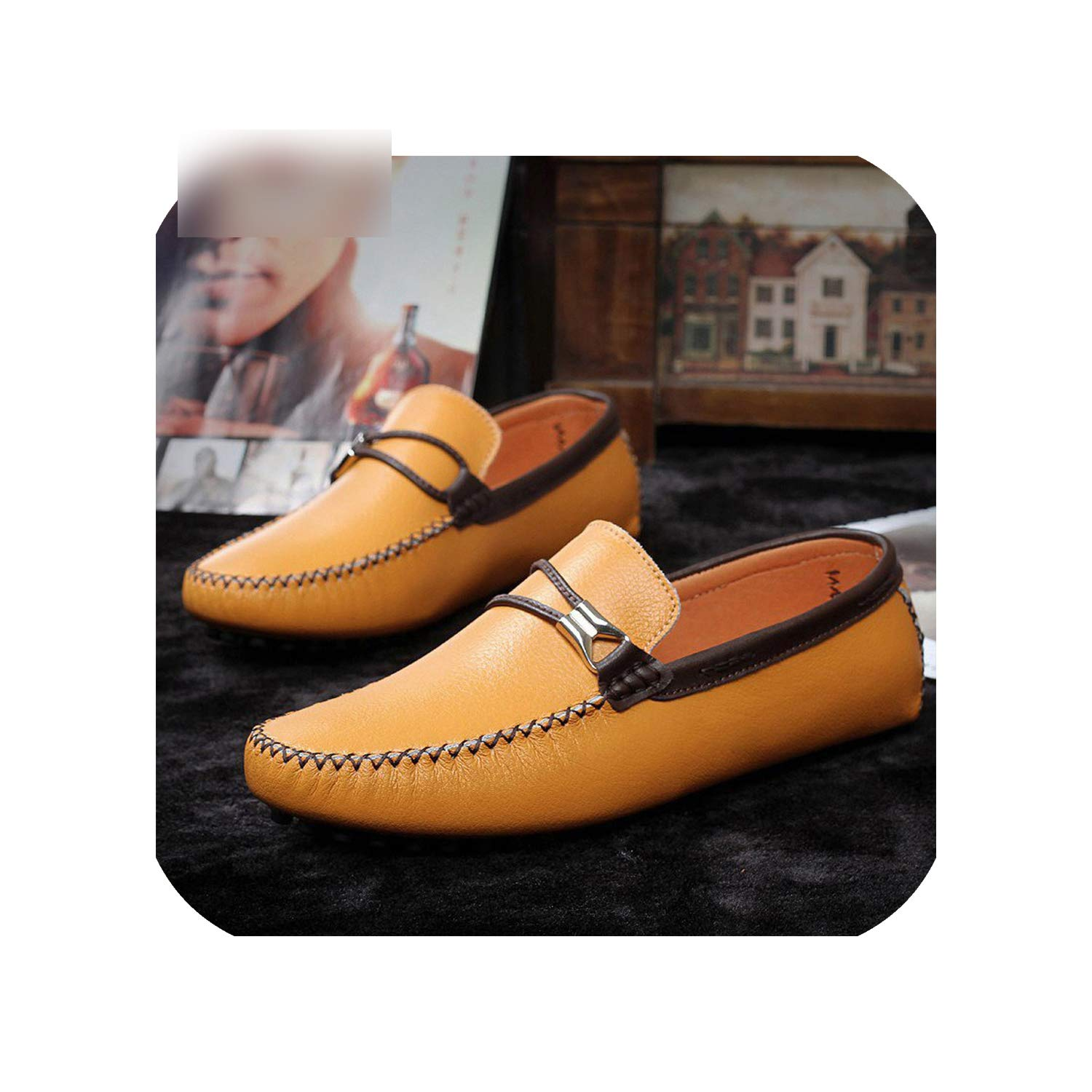 Yellow Leather Peas shoes Simple Men's Casual shoes Trend Casual Driving Lazy shoes