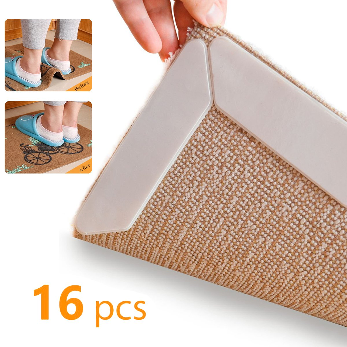 Ousum 16 PCS Rug Grippers Reusable Anti Slip Carpet Underlayments Keep Your Carpet Flat with Strong Sticky Double Sided, No Damage To Your Hard Floor