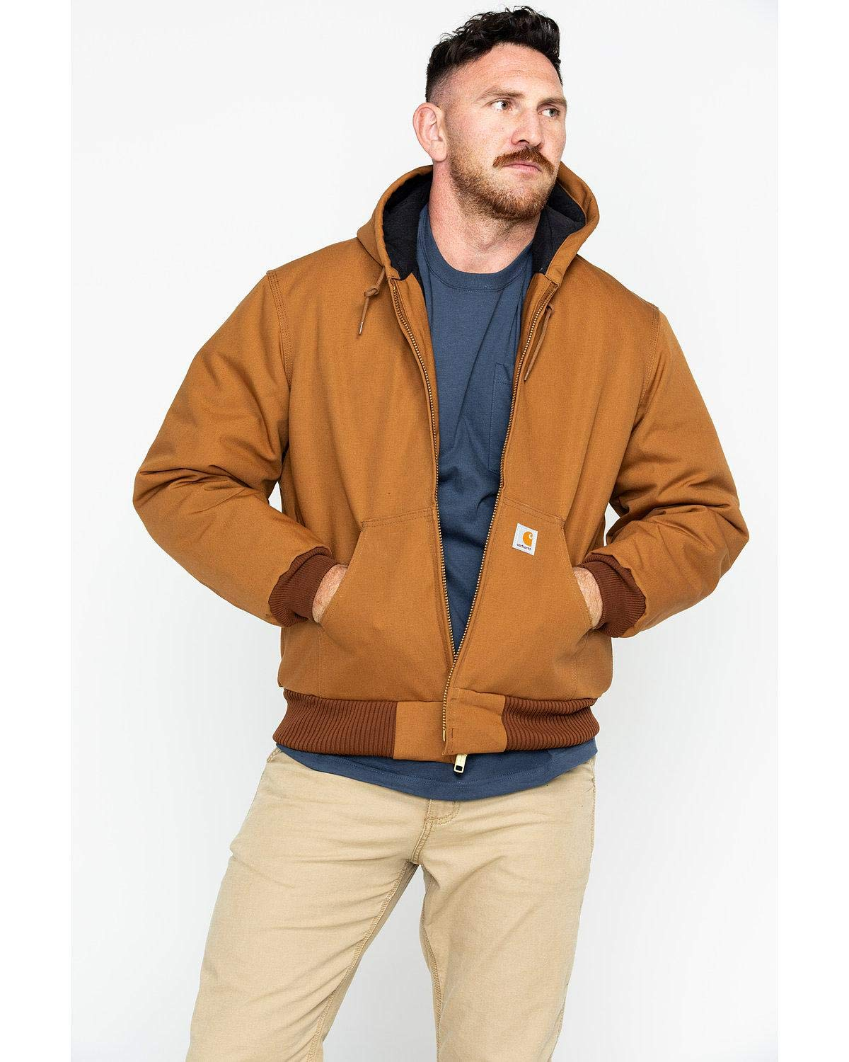 Carhartt Men's Quilted Flannel Lined Duck Active Jacket J140,Brown,Large by Carhartt