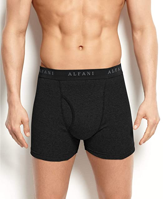 82ecc6e1d920 Alfani Men's 3 Pack. Cotton Boxer Brief (1X) Black at Amazon Men's ...