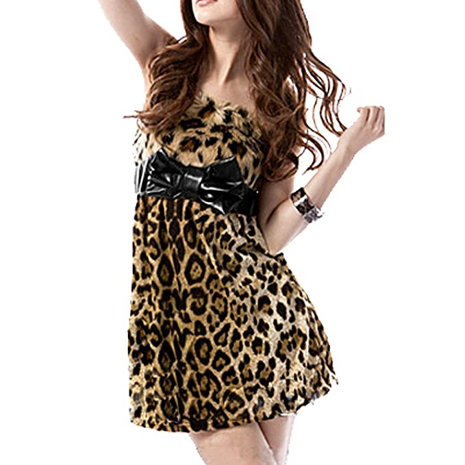 Leopard Print Plush Bust Strapless Tube Dress XS for Women at Amazon  Women s Clothing store  93525a1a4
