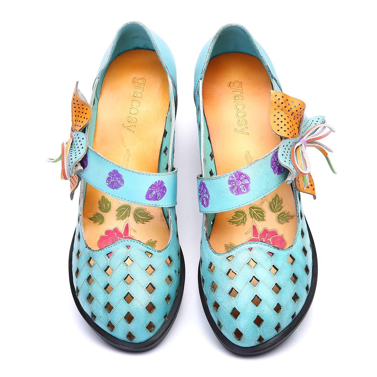 Bleu Marron Chaussures de Ville Automne Hiver Escarpins /à Talons Moyens Carres Mary Janes Bride Cheville 2018 Gracosy Mocassins Cuir Femmes Style Original Color/é Motif Fleurs