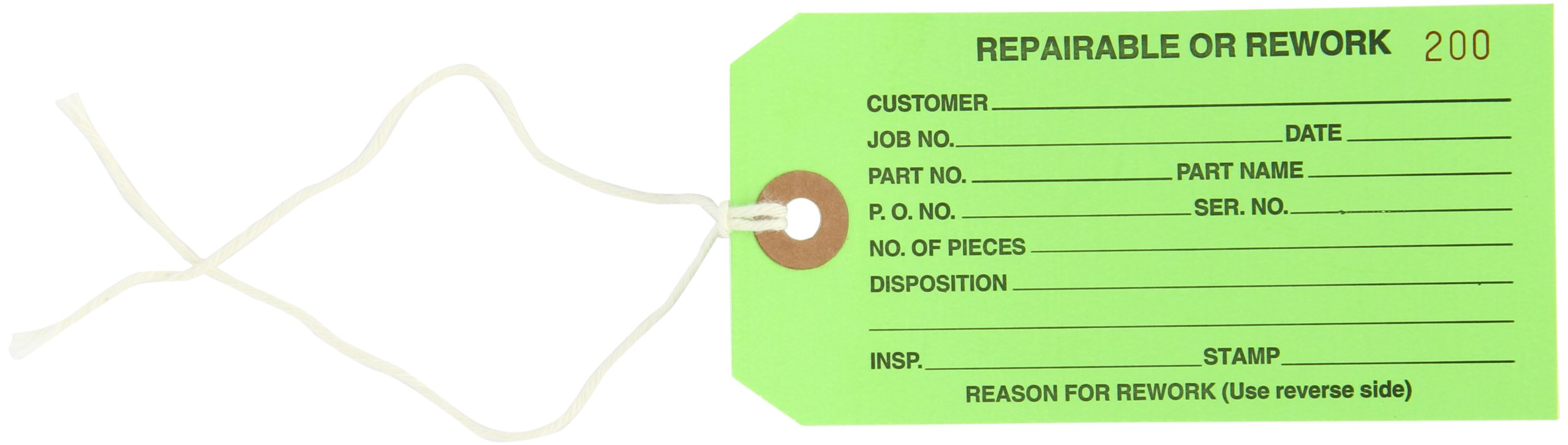 Aviditi G20042 Pre Strung Inspection Tag, Legend''REPAIRABLE or REWORK'', 13 Point Cardstock, 4-3/4'' Height x 2-3/8'' Width, Black on Green (Case of 1000)