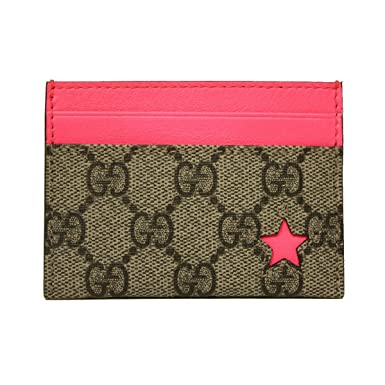 15cdf7bcd57 Image Unavailable. Image not available for. Color  Gucci GG Logo Neon Pink  Star Business Card Case ...