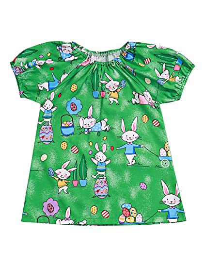 560745574 Toddler Baby Girls Easter Outfit Fly Sleeve Cartoon Bunny Print Princess  Smocked Bishop Dress 1-