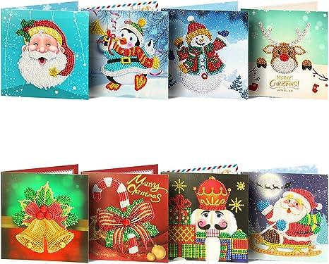 Amazon.com: Tarjeta de Navidad 5D Kit de pintura de diamante ...