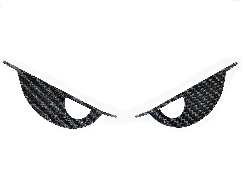 Kevlar Evil Eyes No Fear Decal Carbon Fiber Devil Demon Sticker 6 Wide Black Vinyl Sport Motorbike Helmet Motorcycle Bike Racing Car Badge Sticker Door Window Tailgate Truck Trunk Side Rear Emblem Mac Laptop Notebook Decals