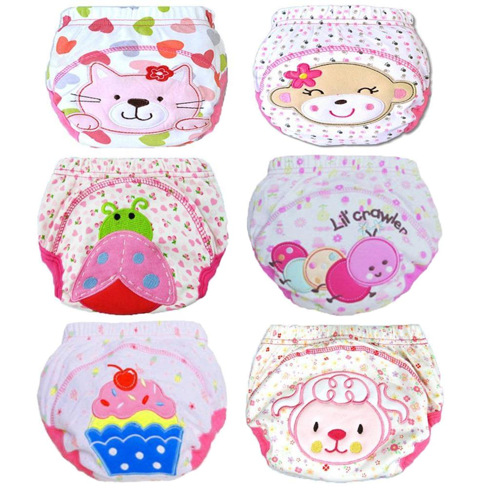 Tongchou 6pcs Baby Toddler Girls Cotton Potty Training Pants Reusable 1-2 Years Size 90