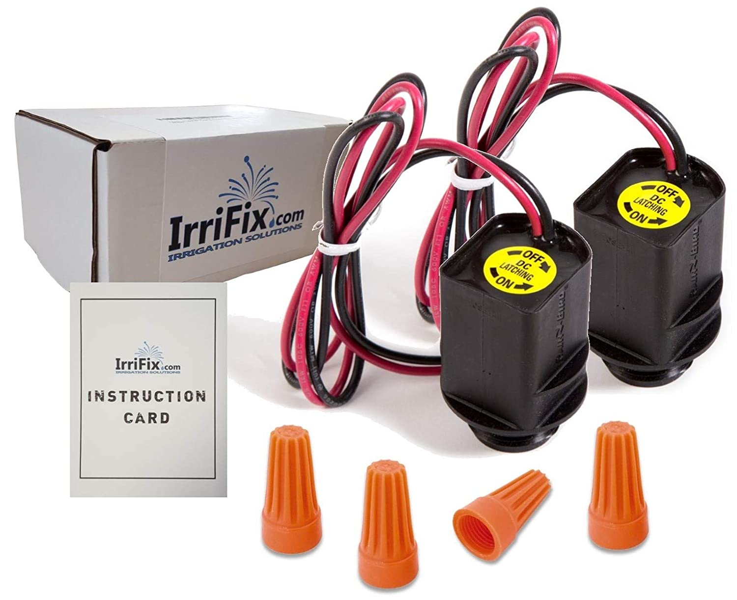 IrriFix Box Set – 2 Pack Rain Bird TBOS Solenoids – RainBird Model TBOSPSOL Potted Latching DC Power Solenoids – Complete with Wire Connectors and Instruction Card