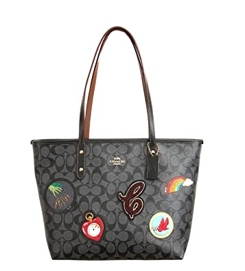 Amazon.com  Coach Signature Wizard of Oz Patches City Zip Tote Bag Handbag  (Black Smoke Multi)  Shoes bb3bc552ccf19